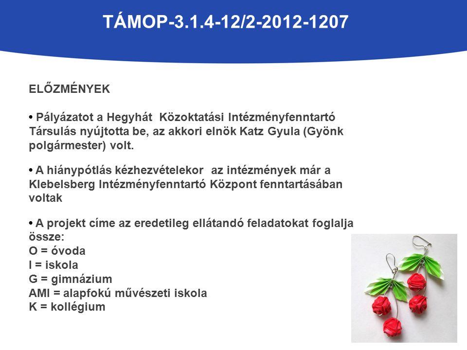 TÁMOP-3.1.4-12/2-2012-1207 ELŐZMÉNYEK Pályázatot a Hegyhát Közoktatási Intézményfenntartó Társulás nyújtotta be, az akkori elnök Katz Gyula (Gyönk polgármester) volt.