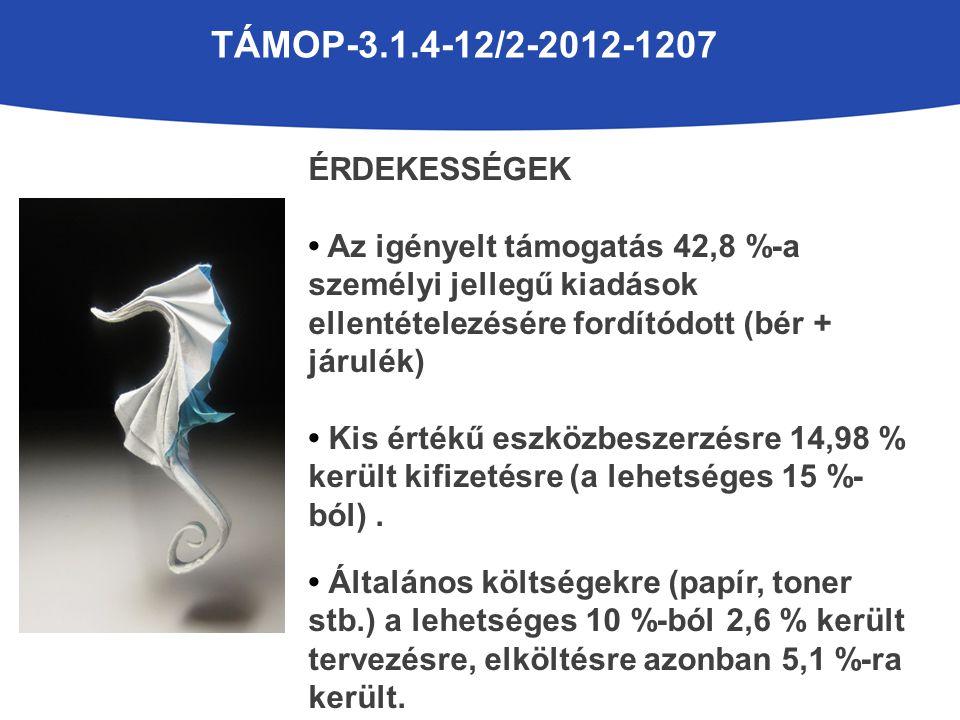 TÁMOP-3.1.4-12/2-2012-1207 ÉRDEKESSÉGEK Az igényelt támogatás 42,8 %-a személyi jellegű kiadások ellentételezésére fordítódott (bér + járulék) Kis értékű eszközbeszerzésre 14,98 % került kifizetésre (a lehetséges 15 %- ból).