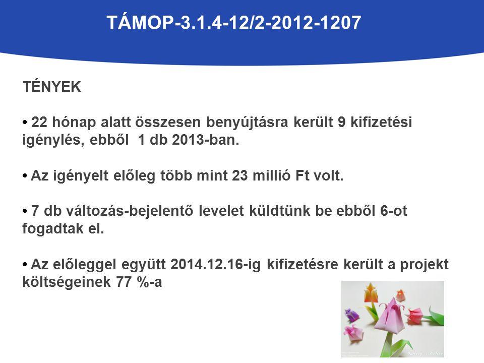 TÁMOP-3.1.4-12/2-2012-1207 TÉNYEK 22 hónap alatt összesen benyújtásra került 9 kifizetési igénylés, ebből 1 db 2013-ban.