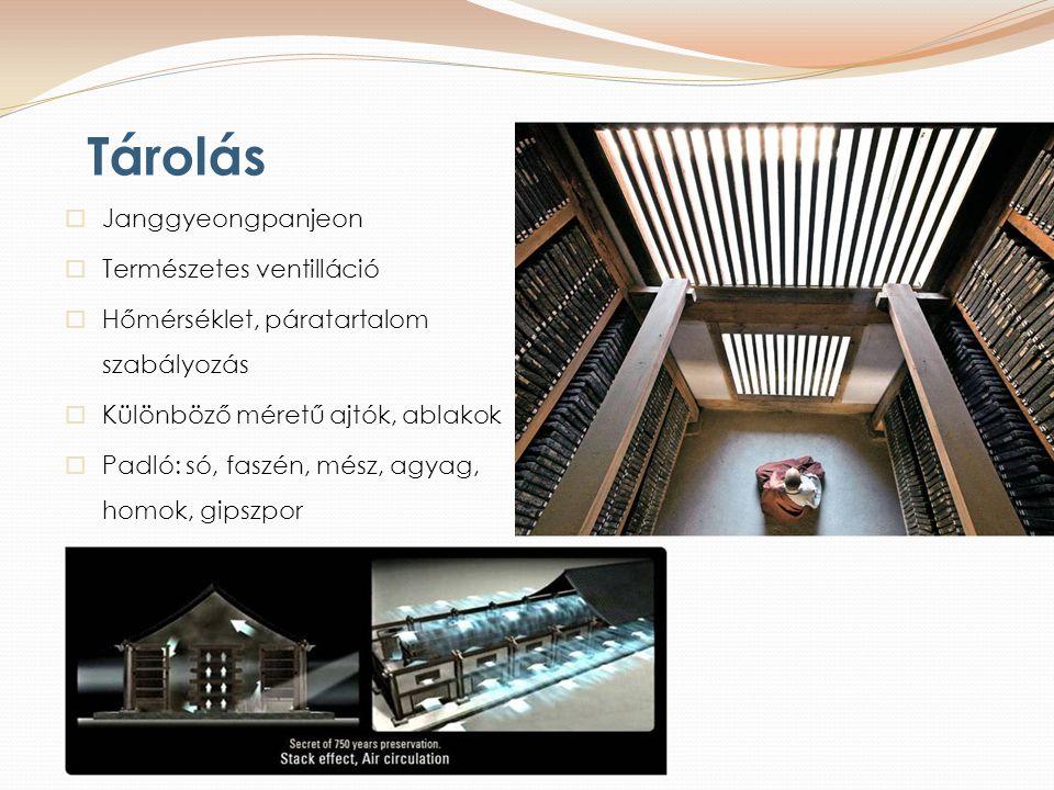 Tárolás  Janggyeongpanjeon  Természetes ventilláció  Hőmérséklet, páratartalom szabályozás  Különböző méretű ajtók, ablakok  Padló: só, faszén, mész, agyag, homok, gipszpor