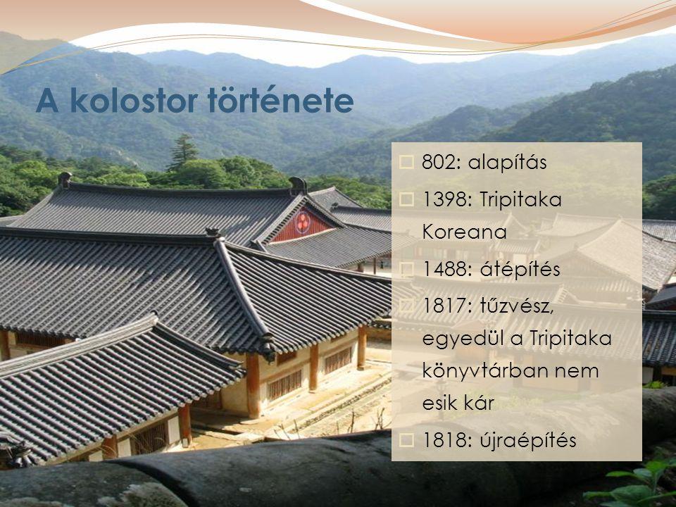 A kolostor története  802: alapítás  1398: Tripitaka Koreana  1488: átépítés  1817: tűzvész, egyedül a Tripitaka könyvtárban nem esik kár  1818: újraépítés