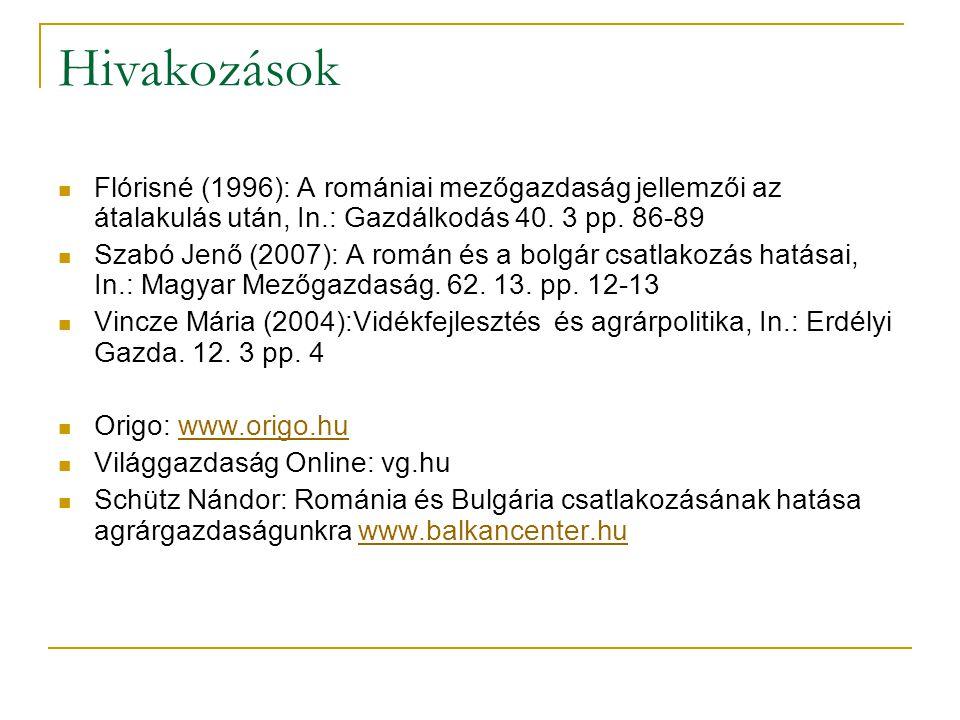 Hivakozások Flórisné (1996): A romániai mezőgazdaság jellemzői az átalakulás után, In.: Gazdálkodás 40.