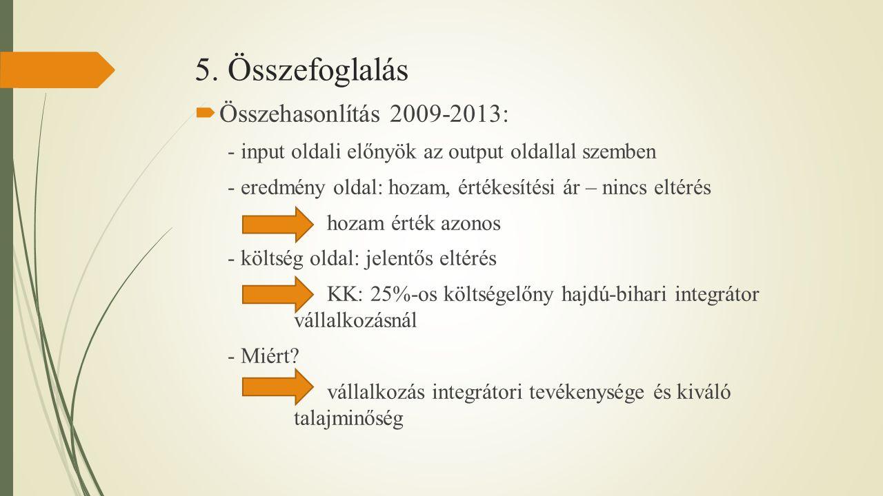 5. Összefoglalás  Összehasonlítás 2009-2013: - input oldali előnyök az output oldallal szemben - eredmény oldal: hozam, értékesítési ár – nincs eltér