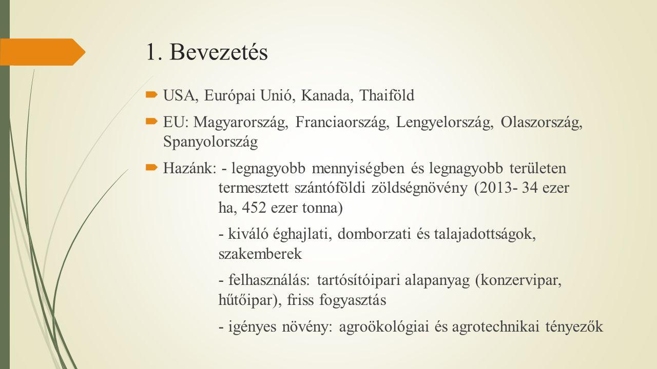 1. Bevezetés  USA, Európai Unió, Kanada, Thaiföld  EU: Magyarország, Franciaország, Lengyelország, Olaszország, Spanyolország  Hazánk: - legnagyobb