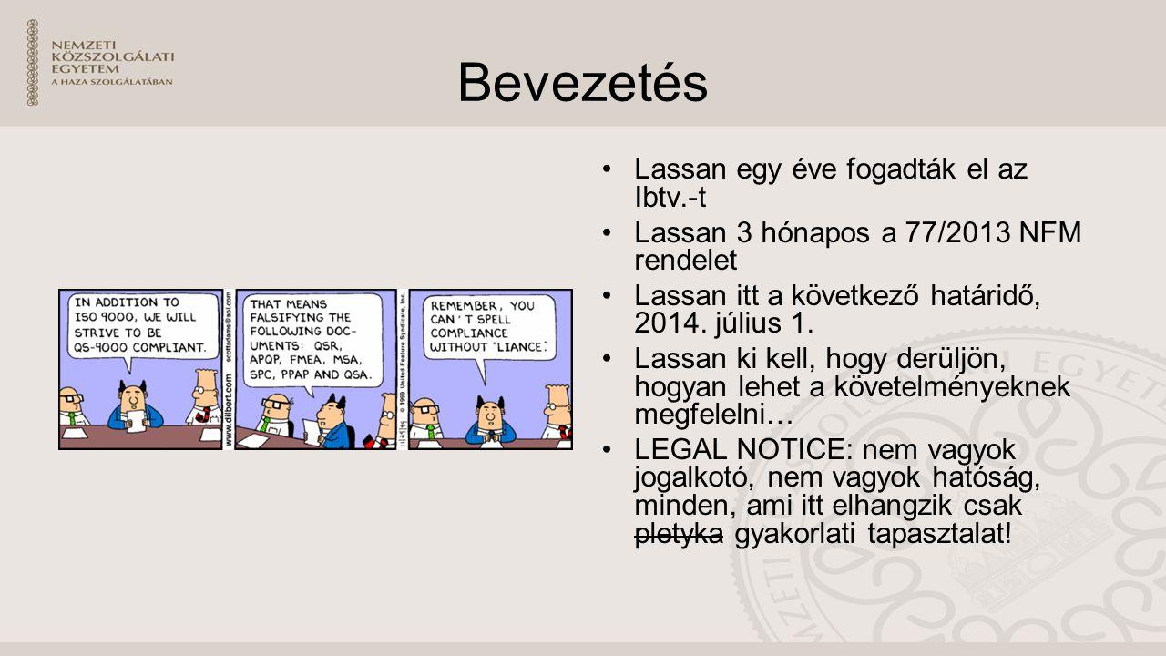 Bevezetés Lassan egy éve fogadták el az Ibtv.-t Lassan 3 hónapos a 77/2013 NFM rendelet Lassan itt a következő határidő, 2014.