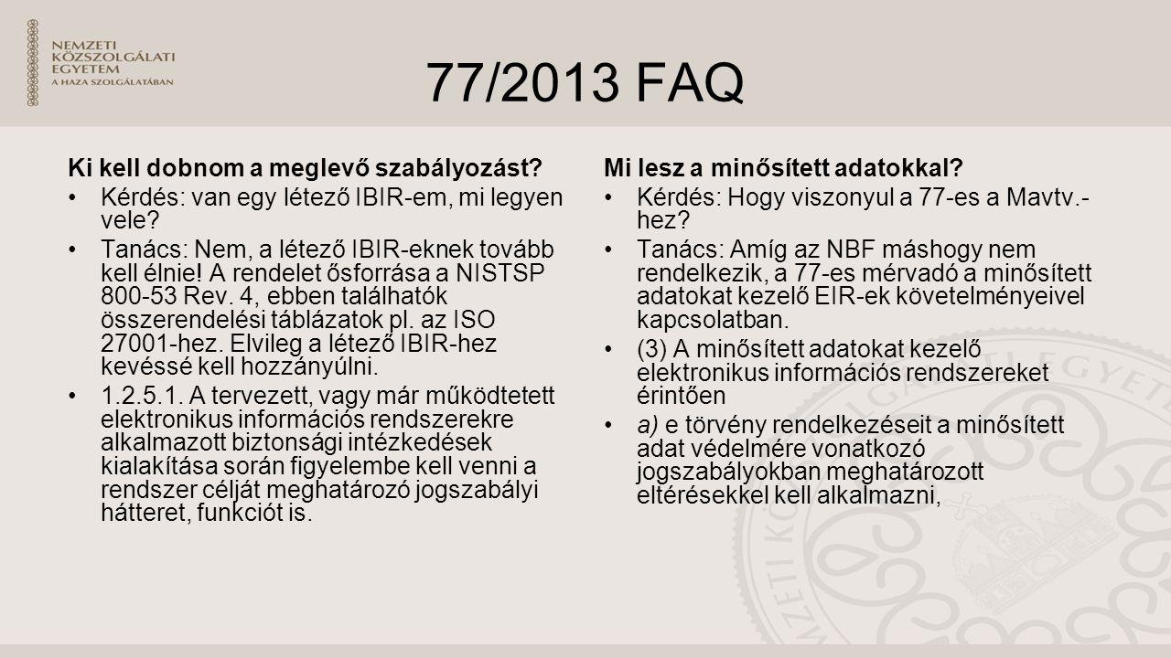 77/2013 FAQ Ki kell dobnom a meglevő szabályozást.