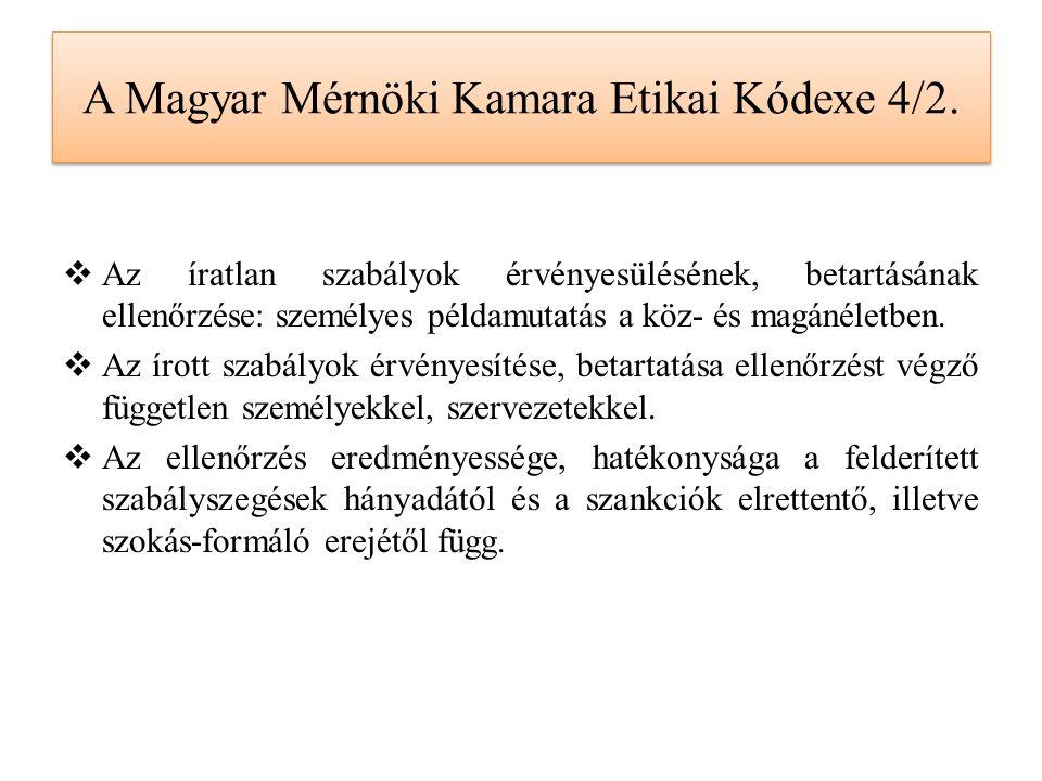A Magyar Mérnöki Kamara Etikai Kódexe 4/2.  Az íratlan szabályok érvényesülésének, betartásának ellenőrzése: személyes példamutatás a köz- és magánél