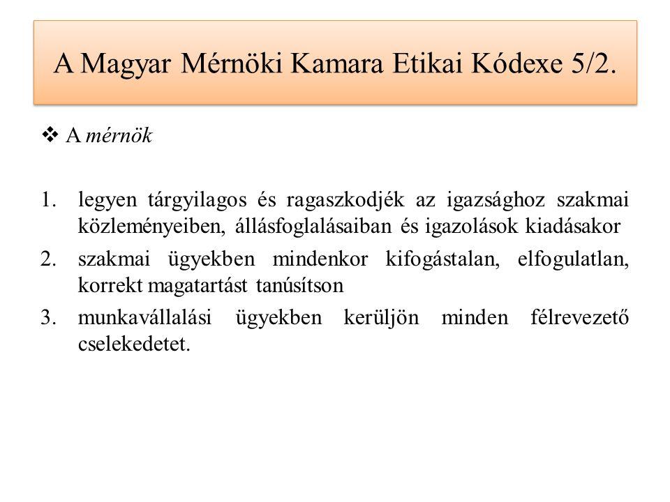 A Magyar Mérnöki Kamara Etikai Kódexe 5/2.  A mérnök 1.legyen tárgyilagos és ragaszkodjék az igazsághoz szakmai közleményeiben, állásfoglalásaiban és
