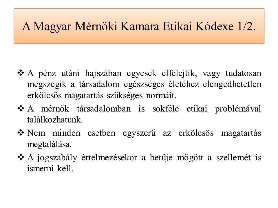 A Magyar Mérnöki Kamara Etikai Kódexe 1/2.  A pénz utáni hajszában egyesek elfelejtik, vagy tudatosan megszegik a társadalom egészséges életéhez elen