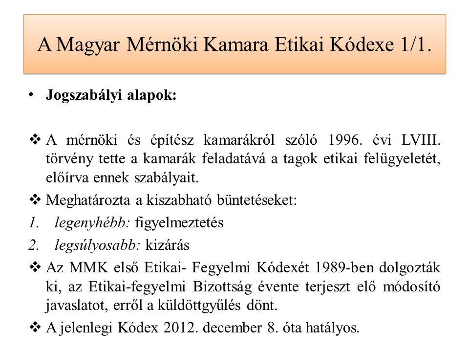 A Magyar Mérnöki Kamara Etikai Kódexe 1/1. Jogszabályi alapok:  A mérnöki és építész kamarákról szóló 1996. évi LVIII. törvény tette a kamarák felada