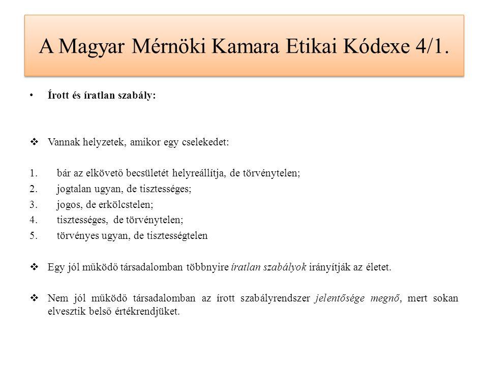 A Magyar Mérnöki Kamara Etikai Kódexe 4/1. Írott és íratlan szabály:  Vannak helyzetek, amikor egy cselekedet: 1.bár az elkövető becsületét helyreáll