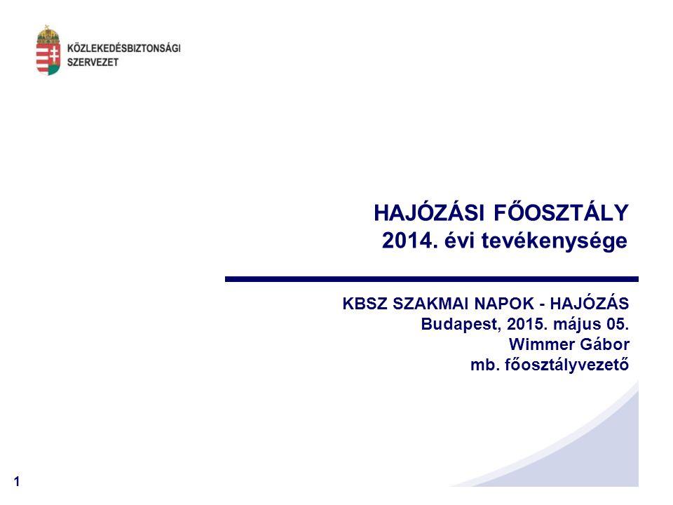 1 HAJÓZÁSI FŐOSZTÁLY 2014. évi tevékenysége KBSZ SZAKMAI NAPOK - HAJÓZÁS Budapest, 2015. május 05. Wimmer Gábor mb. főosztályvezető
