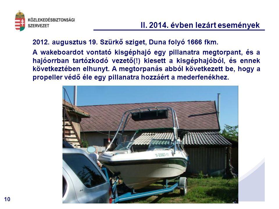 10 II. 2014. évben lezárt események 2012. augusztus 19. Szürkő sziget, Duna folyó 1666 fkm. A wakeboardot vontató kisgéphajó egy pillanatra megtorpant