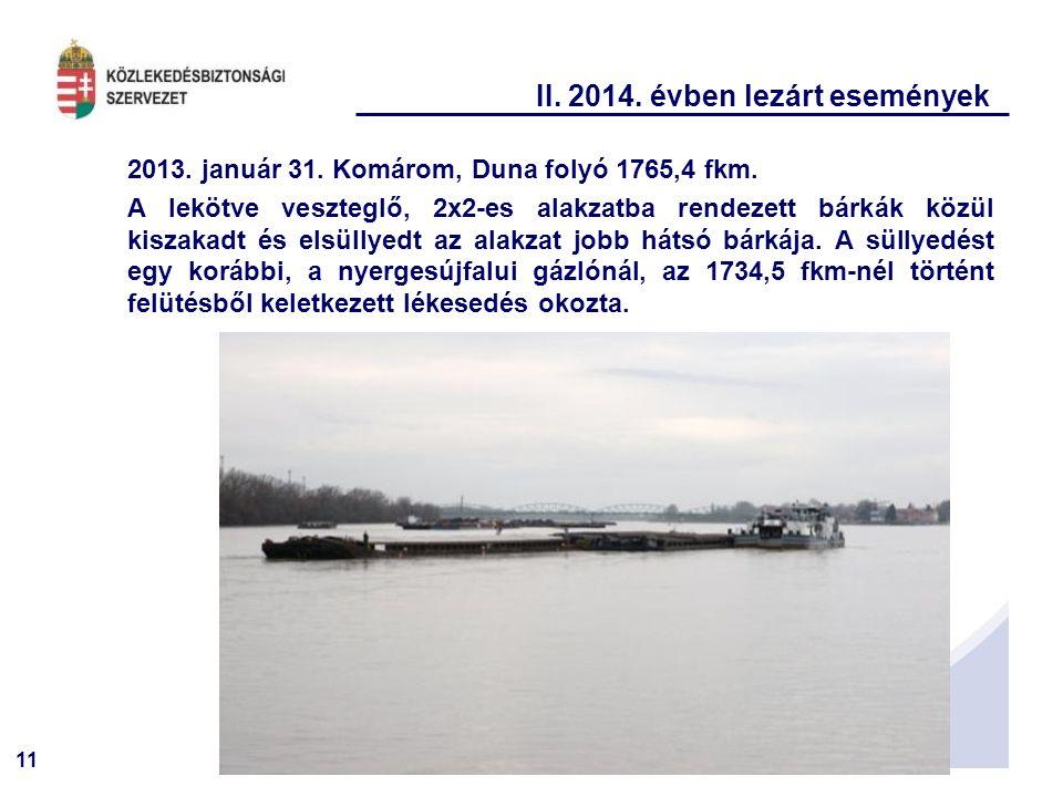 11 II. 2014. évben lezárt események 2013. január 31. Komárom, Duna folyó 1765,4 fkm. A lekötve veszteglő, 2x2-es alakzatba rendezett bárkák közül kisz