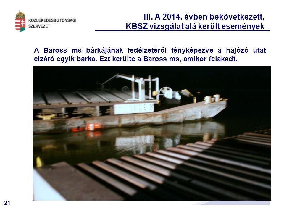 21 III. A 2014. évben bekövetkezett, KBSZ vizsgálat alá került események A Baross ms bárkájának fedélzetéről fényképezve a hajózó utat elzáró egyik bá