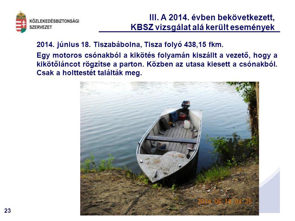 23 III. A 2014. évben bekövetkezett, KBSZ vizsgálat alá került események 2014. június 18. Tiszabábolna, Tisza folyó 438,15 fkm. Egy motoros csónakból