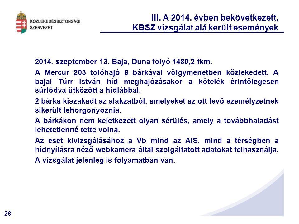 28 III.A 2014. évben bekövetkezett, KBSZ vizsgálat alá került események 2014.