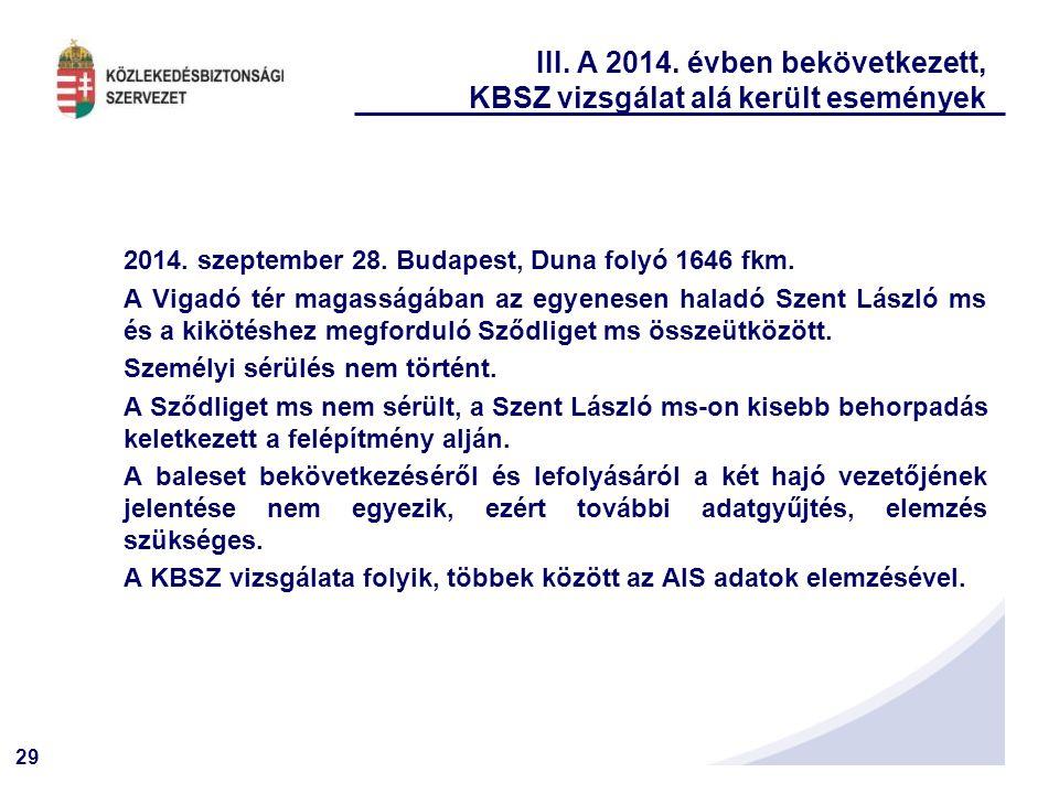 29 III. A 2014. évben bekövetkezett, KBSZ vizsgálat alá került események 2014. szeptember 28. Budapest, Duna folyó 1646 fkm. A Vigadó tér magasságában