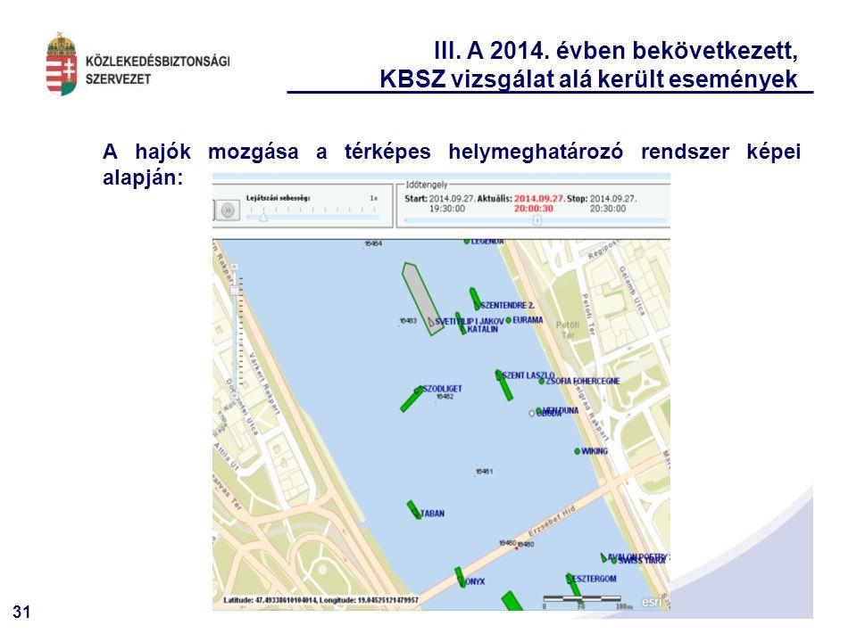 31 III. A 2014. évben bekövetkezett, KBSZ vizsgálat alá került események A hajók mozgása a térképes helymeghatározó rendszer képei alapján:
