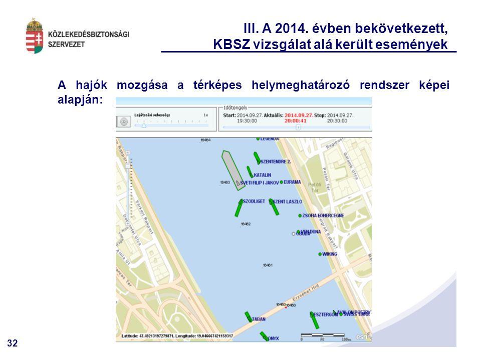32 III. A 2014. évben bekövetkezett, KBSZ vizsgálat alá került események A hajók mozgása a térképes helymeghatározó rendszer képei alapján: