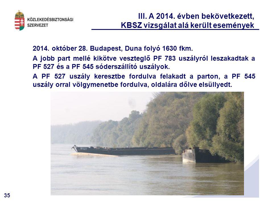 35 III. A 2014. évben bekövetkezett, KBSZ vizsgálat alá került események 2014. október 28. Budapest, Duna folyó 1630 fkm. A jobb part mellé kikötve ve