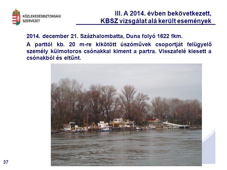 37 III. A 2014. évben bekövetkezett, KBSZ vizsgálat alá került események 2014. december 21. Százhalombatta, Duna folyó 1622 fkm. A parttól kb. 20 m-re