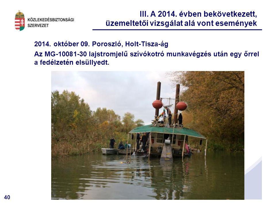40 2014. október 09. Poroszló, Holt-Tisza-ág Az MG-10081-30 lajstromjelű szívókotró munkavégzés után egy őrrel a fedélzetén elsüllyedt. III. A 2014. é