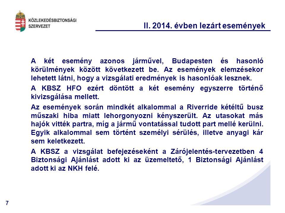 7 II. 2014. évben lezárt események A két esemény azonos járművel, Budapesten és hasonló körülmények között következett be. Az események elemzésekor le