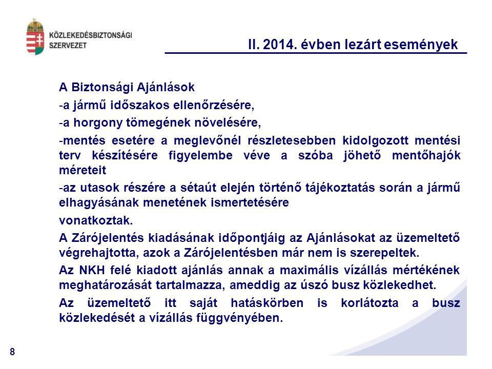 8 II. 2014. évben lezárt események A Biztonsági Ajánlások -a jármű időszakos ellenőrzésére, -a horgony tömegének növelésére, -mentés esetére a meglevő