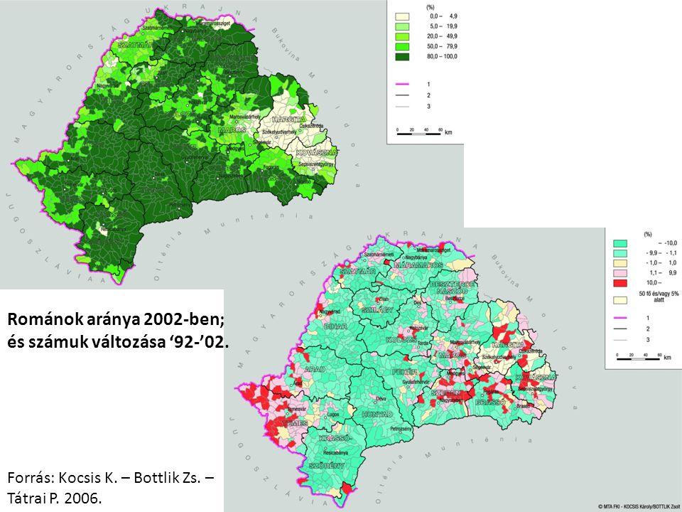 Románok aránya 2002-ben; és számuk változása '92-'02. Forrás: Kocsis K. – Bottlik Zs. – Tátrai P. 2006.