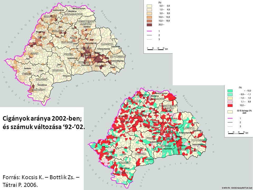 Cigányok aránya 2002-ben; és számuk változása '92-'02. Forrás: Kocsis K. – Bottlik Zs. – Tátrai P. 2006.
