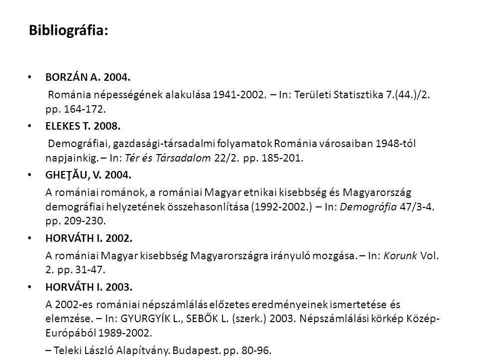 Bibliográfia: BORZÁN A. 2004. Románia népességének alakulása 1941-2002. – In: Területi Statisztika 7.(44.)/2. pp. 164-172. ELEKES T. 2008. Demográfiai