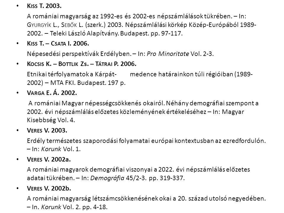 K ISS T. 2003. A romániai magyarság az 1992-es és 2002-es népszámlálások tükrében. – In: G YURGYÍK L., S EBŐK L. (szerk.) 2003. Népszámlálási körkép K