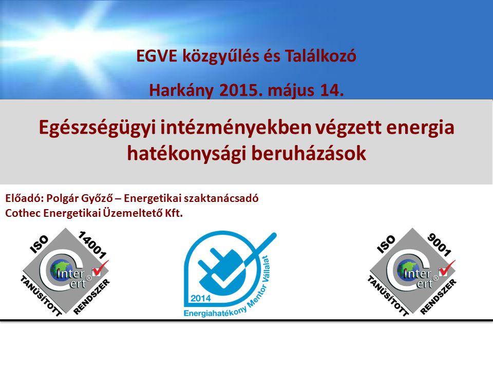 EGÉSZSÉGÜGYI INTÉZMÉNYEKBEN VÉGZETT ENERGIA HATÉKONYSÁGI BERUHÁZÁSOK Polgár Győző energetikai szaktanácsadó EGVE K ÖZGYŰLÉS ÉS T ALÁLKOZÓ 2015.