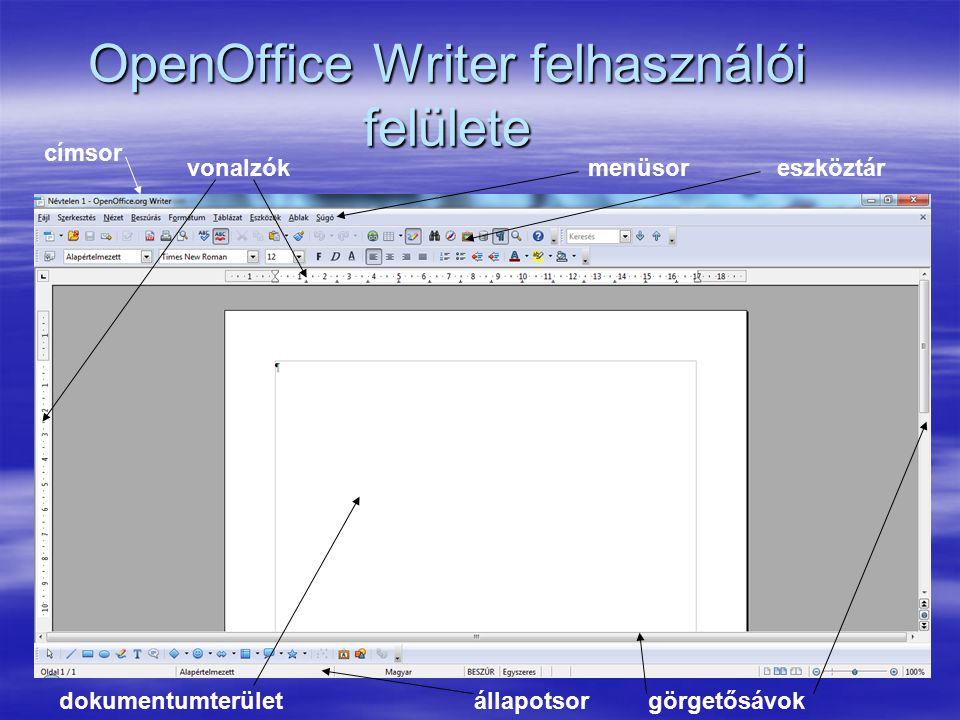 OpenOffice Writer felhasználói felülete címsor menüsoreszköztár állapotsorgörgetősávokdokumentumterület vonalzók