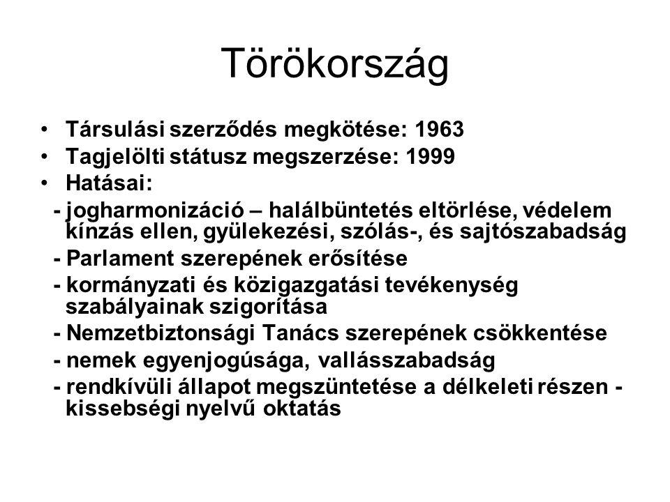 Törökország Társulási szerződés megkötése: 1963 Tagjelölti státusz megszerzése: 1999 Hatásai: - jogharmonizáció – halálbüntetés eltörlése, védelem kínzás ellen, gyülekezési, szólás-, és sajtószabadság - Parlament szerepének erősítése - kormányzati és közigazgatási tevékenység szabályainak szigorítása - Nemzetbiztonsági Tanács szerepének csökkentése - nemek egyenjogúsága, vallásszabadság - rendkívüli állapot megszüntetése a délkeleti részen - kissebségi nyelvű oktatás