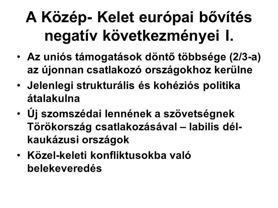 A Közép- Kelet európai bővítés negatív következményei I.