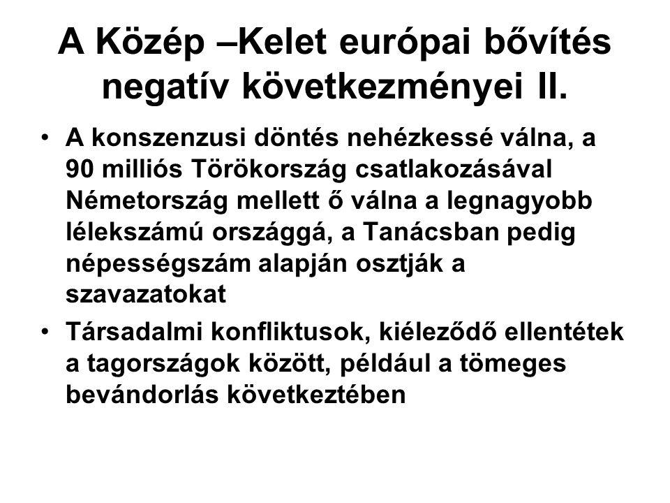 A Közép –Kelet európai bővítés negatív következményei II.