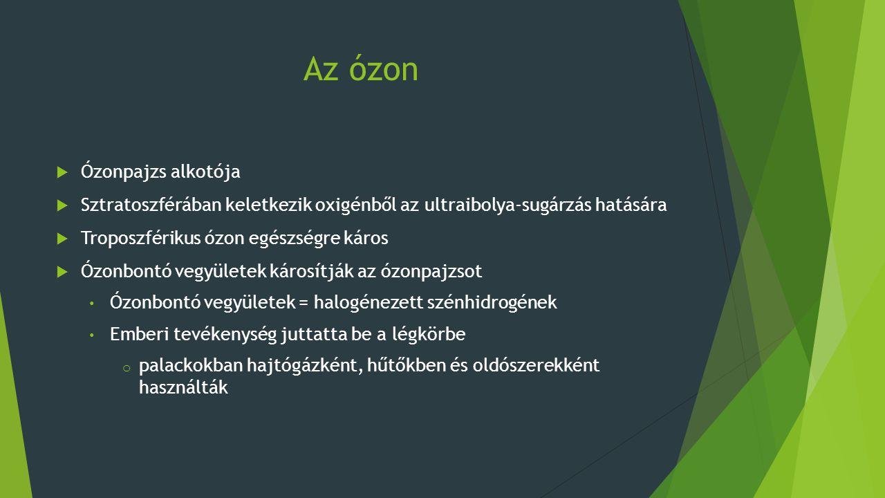 Az ózon  Ózonpajzs alkotója  Sztratoszférában keletkezik oxigénből az ultraibolya-sugárzás hatására  Troposzférikus ózon egészségre káros  Ózonbon