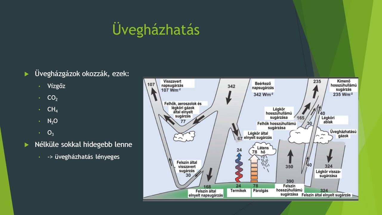 A szén dioxid  Természetes eredete: Legfőbb: vulkáni tevékenység Óceánok: szénsavként oldódik a vízben, melegedés-> CO2 szabadul ki o Fontos CO 2 megkötő közeg Heterotróf élőlények o Anyagcseréjük során CO 2 gázt lélegeznek ki  Emberi tevékenység: Legfőbb: fosszilis tüzelőanyagok égetése o kőolaj, a kőszén és földgáz o belsőégésű motorok, erőművek