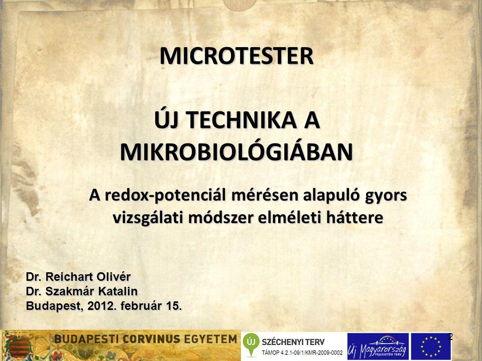 2 MICROTESTER ÚJ TECHNIKA A MIKROBIOLÓGIÁBAN Dr. Reichart Olivér Dr.