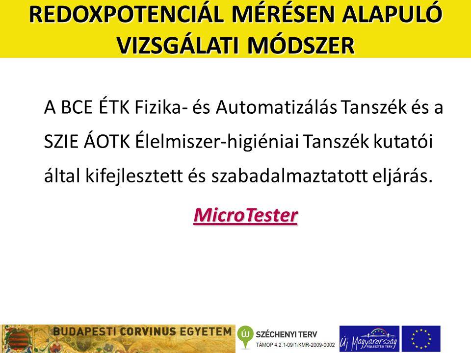 A BCE ÉTK Fizika- és Automatizálás Tanszék és a SZIE ÁOTK Élelmiszer-higiéniai Tanszék kutatói által kifejlesztett és szabadalmaztatott eljárás.MicroTester REDOXPOTENCIÁL MÉRÉSEN ALAPULÓ VIZSGÁLATI MÓDSZER
