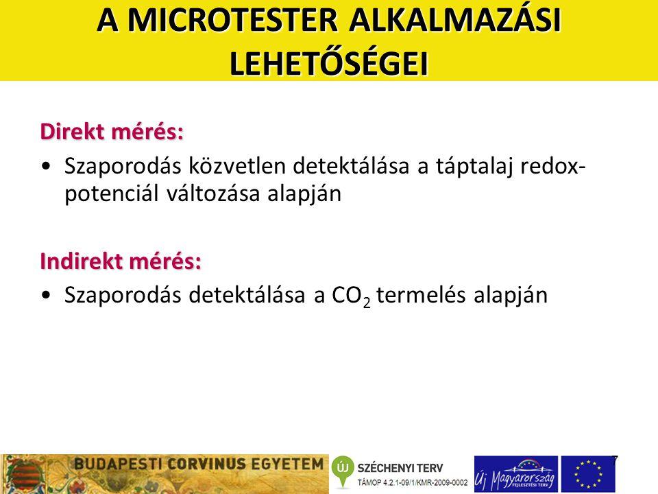 7 Direkt mérés: Szaporodás közvetlen detektálása a táptalaj redox- potenciál változása alapján Indirekt mérés: Szaporodás detektálása a CO 2 termelés alapján A MICROTESTER ALKALMAZÁSI LEHETŐSÉGEI