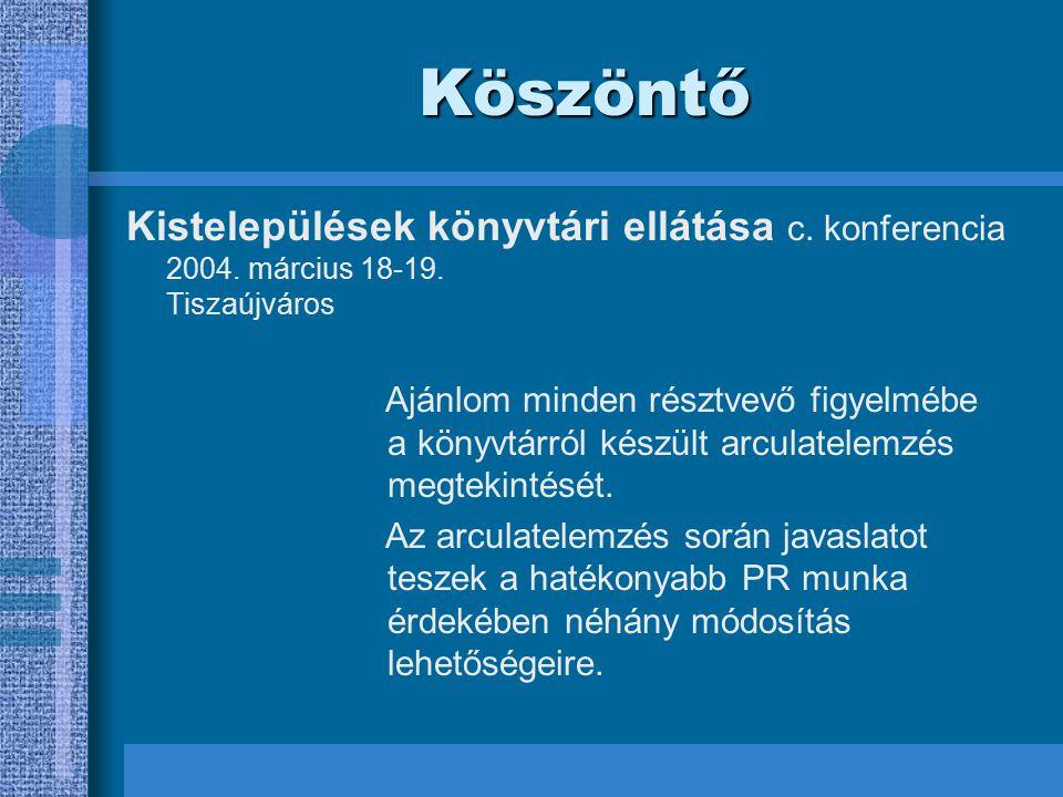Köszöntő Kistelepülések könyvtári ellátása c.konferencia 2004.
