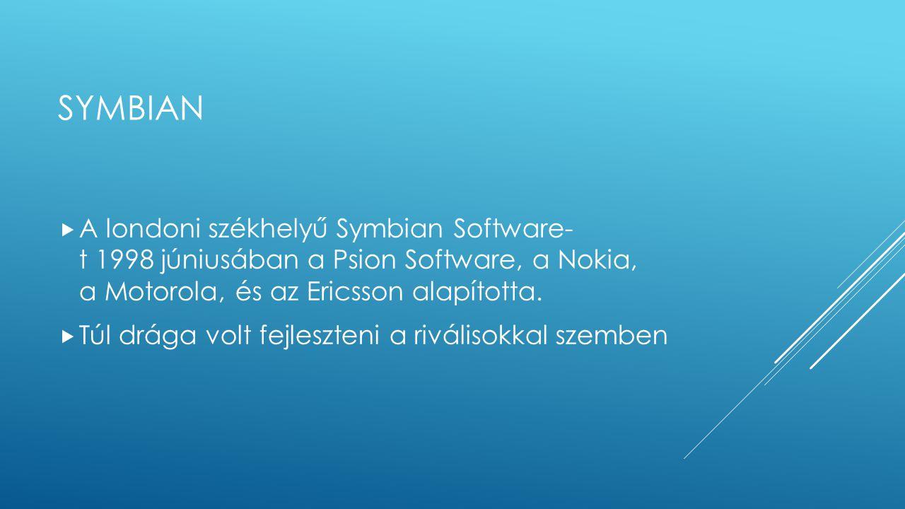 SYMBIAN  A londoni székhelyű Symbian Software- t 1998 júniusában a Psion Software, a Nokia, a Motorola, és az Ericsson alapította.  Túl drága volt f