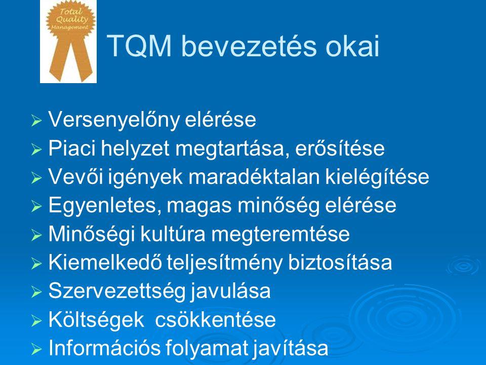 TQM bevezetés okai   Versenyelőny elérése   Piaci helyzet megtartása, erősítése   Vevői igények maradéktalan kielégítése   Egyenletes, magas m