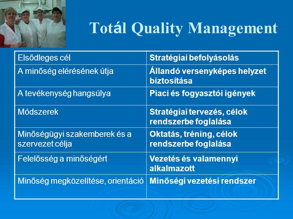 Tot á l Quality Management Elsődleges célStratégiai befolyásolás A minőség elérésének útjaÁllandó versenyképes helyzet biztosítása A tevékenység hangs