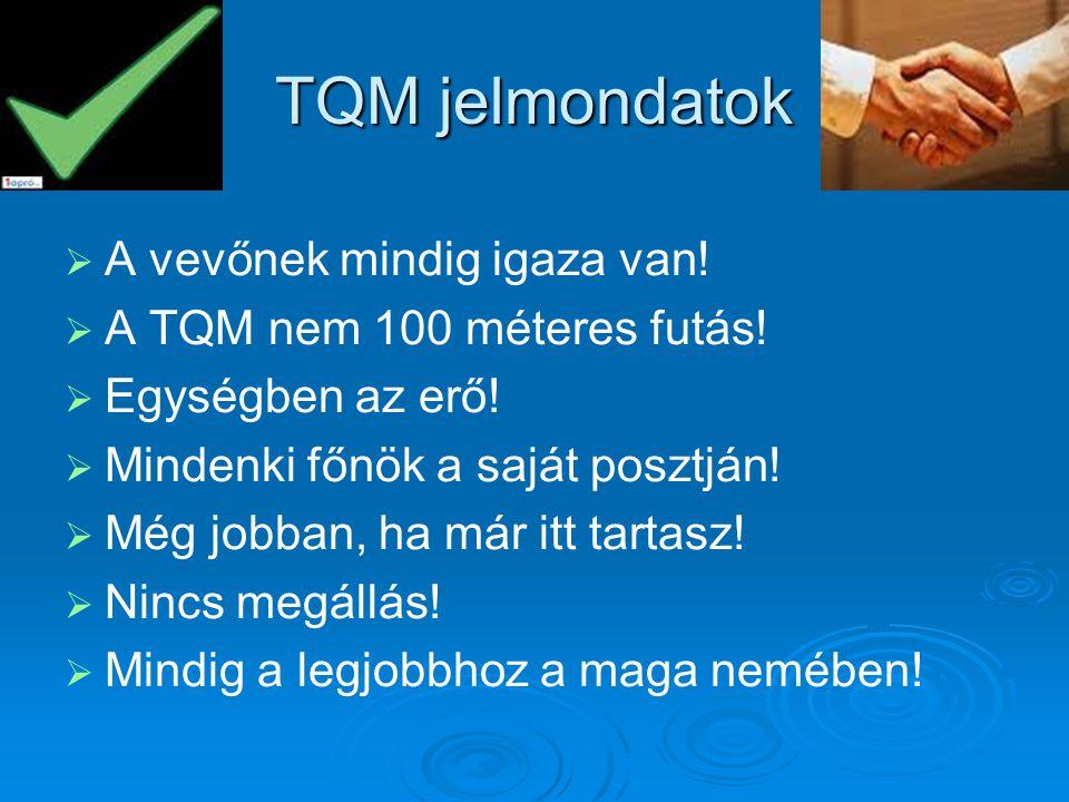 TQM jelmondatok   A vevőnek mindig igaza van!   A TQM nem 100 méteres futás!   Egységben az erő!   Mindenki főnök a saját posztján!   Még jo