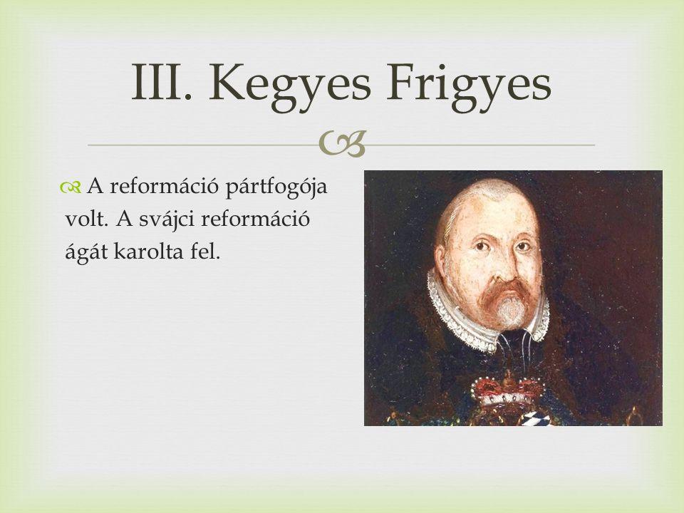  A reformáció pártfogója volt. A svájci reformáció ágát karolta fel. III. Kegyes Frigyes
