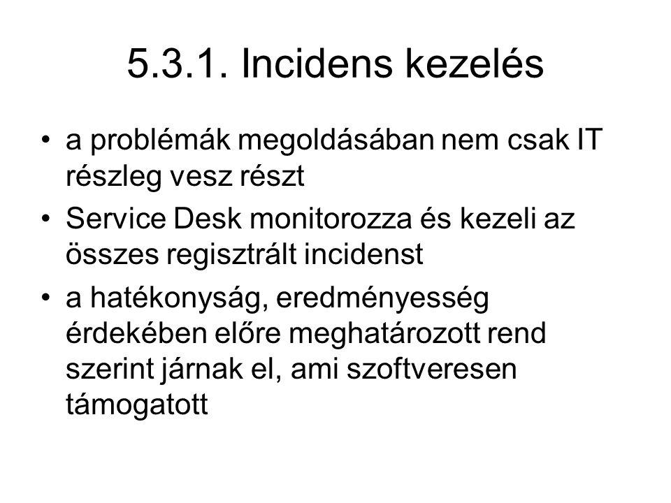 5.3.1. Incidens kezelés a problémák megoldásában nem csak IT részleg vesz részt Service Desk monitorozza és kezeli az összes regisztrált incidenst a h